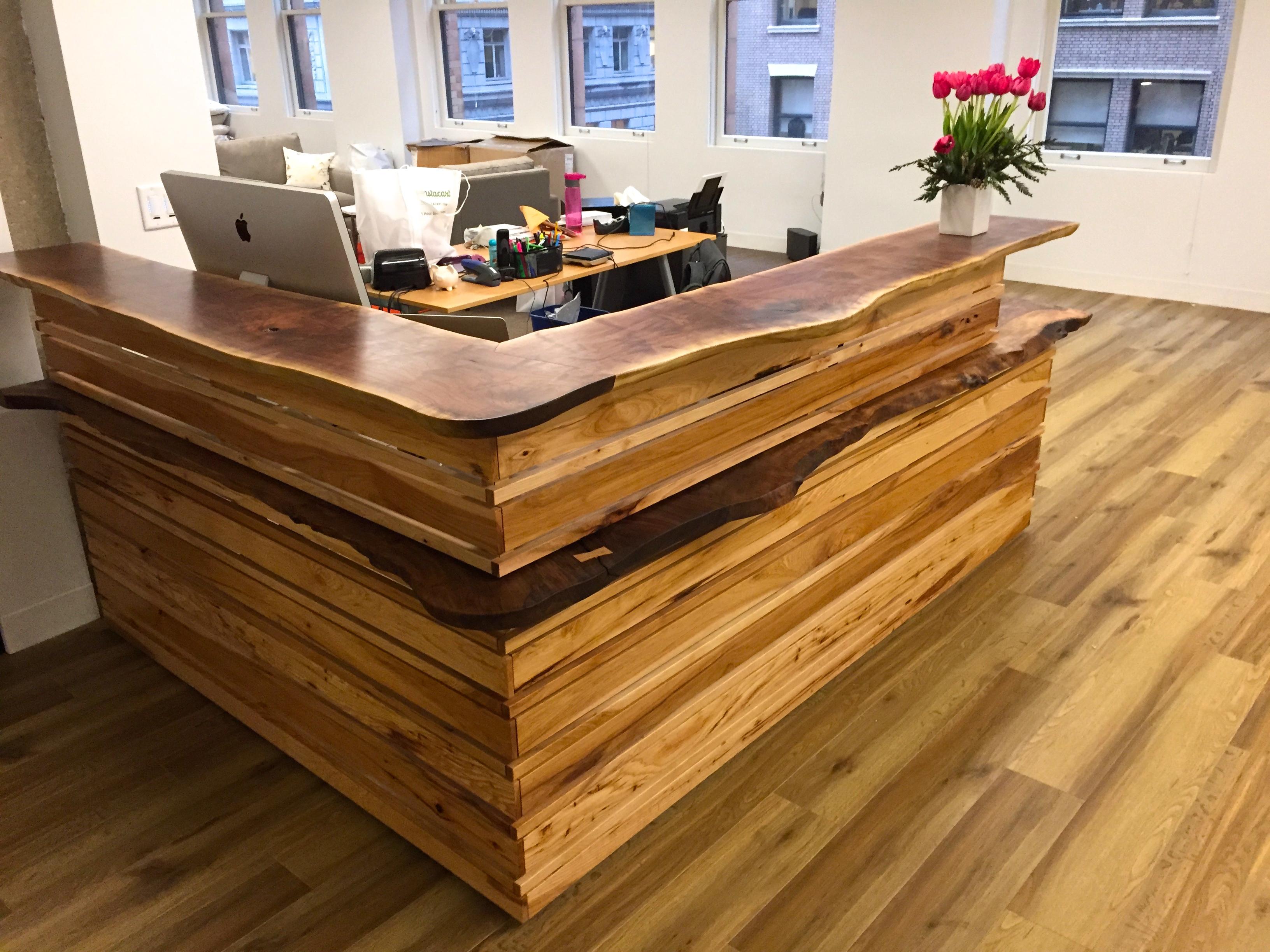 Live edge reception desk design trifecta henry leggett m a for Finishing live edge wood